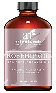 Art Naturals Rosehip Oil - 100% Certified Organic - Pure Virgin, Cold Pressed & Unrefined 4oz - Best Natural moisturizer to heal Dry Skin, Fine Lines & Scars - Rose hip Seed Oil For Hair Face & Skin
