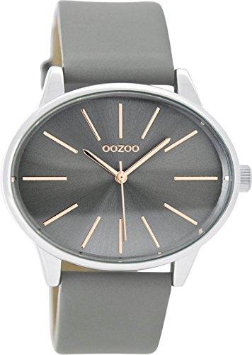 Oozoo Damenuhr mit Lederband 45 MM Silbergrau/Grau C9155