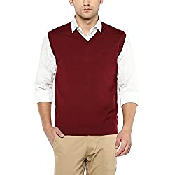 Wills Lifestyle Mens V Neck Solid Sweater_Red_Medium