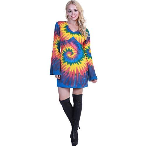 Jahre 70er Kostüm Halloween - EraSpooky Damen Hippie Kostüm Faschingskostüme Cosplay Halloween Party Karneval Fastnacht Kleid für Erwachsene