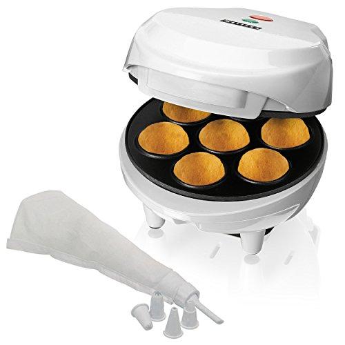 Melissa Cake Pop Maker mit gratis Oramics Spritztüte und 5 Tüllen, Popcake Maker in Weiß mit 30 Stielen, Cakepop Maschine für kreative Pop Cakes, 600 Watt Backleistung