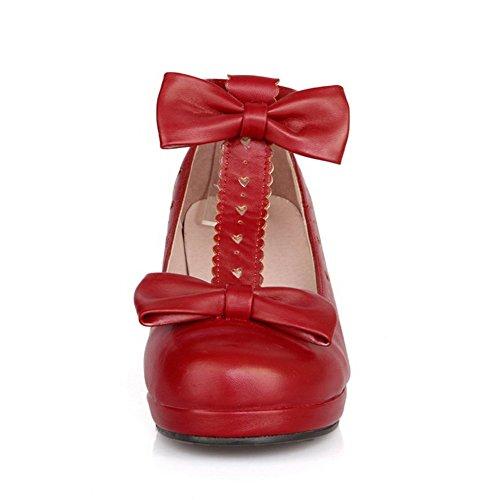 1to9 Con Lazo De Mujer, En Tejido De Goma Y Dedos, Zapatos Rojos