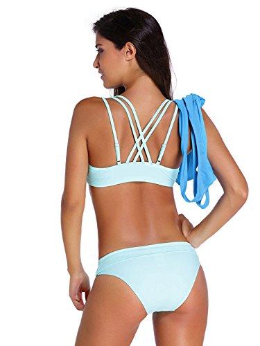 Ms. Bikini Reizvoller Dünner Dreiteiliger Badeanzug Blue