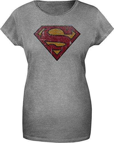 GOZOO Superman T-shirt Donna Vintage Logo 100% Cotone Grigio L
