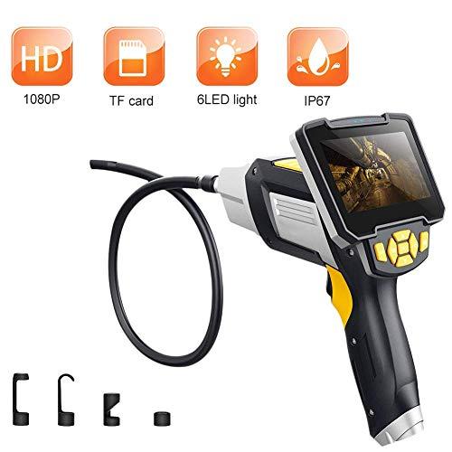 Endoskop Inspektionskamera IP67 wasserdicht mit licht und 4,3 Zoll 1080P Full HD LCD Bildschirm, Halbsteifer Handvideorecope Schlangen Kamera, Handheld Tele Industrielles borescope androic,1M