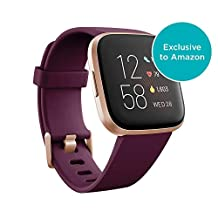 Fitbit Versa 2 (NFC), Health and Fitness Smartwatch with Heart Rate, Music, Sleep and Swim Tracking, One Size (S and L Bands Included) - Bordeaux/Copper Rose