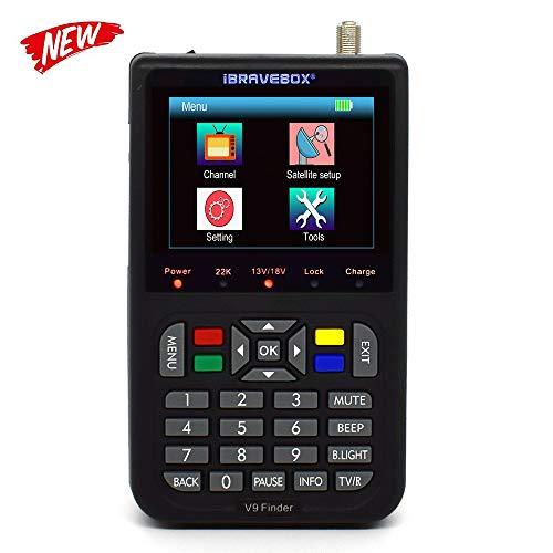 KKmoon V9 Digital Satellite Finder Digital Satellite Signal Finder Meter SAT-Finder con Display LCD da 3,5 pollici,Lingua OSD,Automatica PAL/NTSC(Nero)