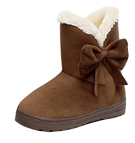Minetom Mujeres Otoño Invierno Botines Zapatos Calientes Moda Botas Con Bowknot Café EU 38