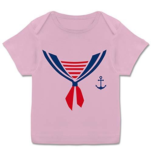 (Karneval und Fasching Baby - Seefahrer Kostüm Halstuch - 80-86 (18 Monate) - Rosa - E110B - Kurzarm Baby-Shirt für Jungen und Mädchen in verschiedenen Farben)