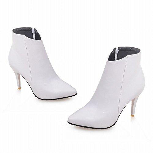 MissSaSa Donna Scarpe col Tacco Alto Elegante e Sexy Piede Stivali Bianco