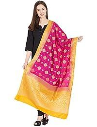 Dupatta Bazaar Woman's Pink & Orange Banarasi Silk Dupatta