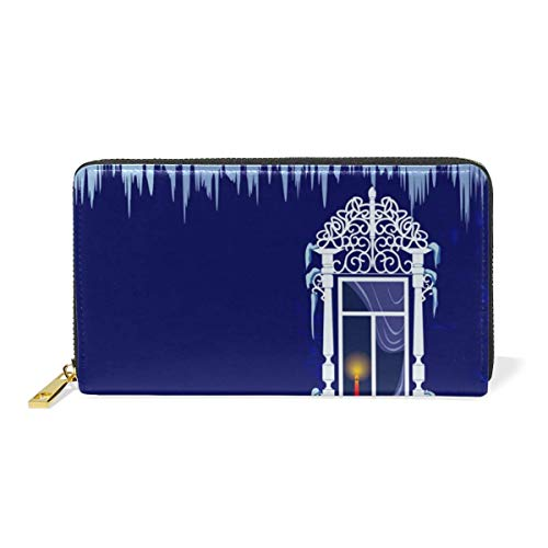 Agoyls Geldbörse Portemonnaie Dream Firework Luxury Genuine Leather Girl Zipper Wallets Clutch Coin Phone for Women -