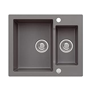 AXIS KITCHEN Mojito 80 Moonlight Grey Einbau Axigranit 60er Unterschrank Küchenspüle 60x50cm Siphon, Exzenter Spuele Grau