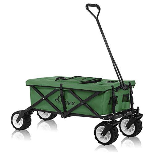 SAMAX Bollerwagen Handwagen Kühltasche Gartenwagen Strandwagen Klappbar Faltbarer Bollerwagen Transportwagen Grün