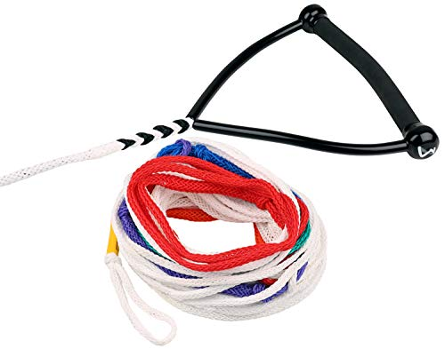 MESLE Wasserski-Leine Pro Radius 75' 8-Loop, Slalom-Leine, Länge 10,75 m - 23 m, 8 Sektionen, Gebogene 13'' Gummi-Hantel, mit Rope Keeper