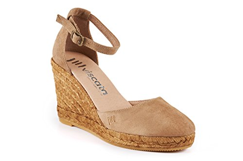 VISCATA Palamos Elegant Comfort, Soft Suede, Ankle-Strap, Closed Toe, Espadrilles with 3-inch Heel Made in Spain Beige - Camel