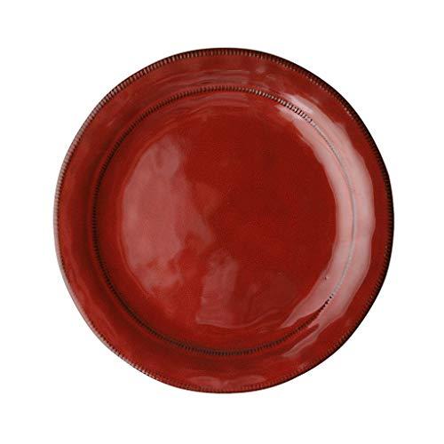 Assiettes à Salade/Dessert (11.2-inch) Assiettes à Dîner Vaisselle Assiettes à Soupe En Porcelaine Kitchen Craft Black (Couleur : Red, taille : 11.2-inch)