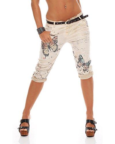 Zarmexx Damen Caprihose Boyfriend Baggy Hose Jeanshose Jeggings Butterfly Capri-Chinohose, Beige, XXL (44) Butterfly Capri-jeans