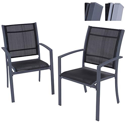 MIADOMODO Gartenstuhl   angenehmer Sitzkomfort, mit Stabiler Stahlrahmen, stapelbar   in 2er Set  ...
