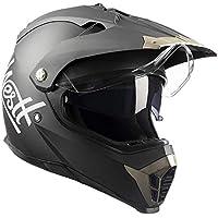 Westt Cross Casco De Moto Motocross Integral con Doble Visera - Negro Mate - Motocicleta Scooter Unisex - Certificado ECE