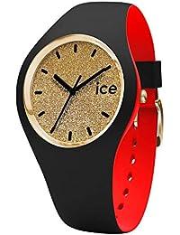 Ice-Watch - Ice Loulou Gold Glitter - Montre Noire pour Femme avec Bracelet en Silicone - 007238 (Medium)