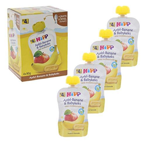 HiPP Quetschbeutel für Babys, Frucht und Getreide, Apfel-Banane mit Babykeks, 100{48b4a3934272a836be0cd4e003286ebaa1b4e6aab45b2ed52c0a507265bf1db3} Bio-Früchte ohne Zuckerzusatz, 4 x 90g Beutel