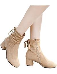 Botas de Invierno Moda para Mujer, Martin Boots Botas Individuales Gruesas con Botas
