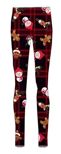 Chocolate Pickle® Nouveau Dames Gingembre Pain Neige homme Noël Arbre Rudolph Visage Jambières36-42 Black-Tartan Snowman With Cap