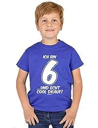 Jungen T-Shirt Kinder zum 6. Geburtstag - Kindergeburtstag Geschenk 6 Jahre alt Kindershirt Ich bin 6 …und echt cool drauf! 6 Geburtstagsgeschenk Buben Kind zur Einschulung in blau : )