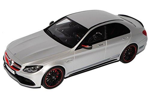 Preisvergleich Produktbild Mercedes-Benz C-Klasse C63 S AMG Limousine W205 Matt SIlber Ab 2014 Nr 068 1/18 GT Spirit Modell Auto mit individiuellem Wunschkennzeichen
