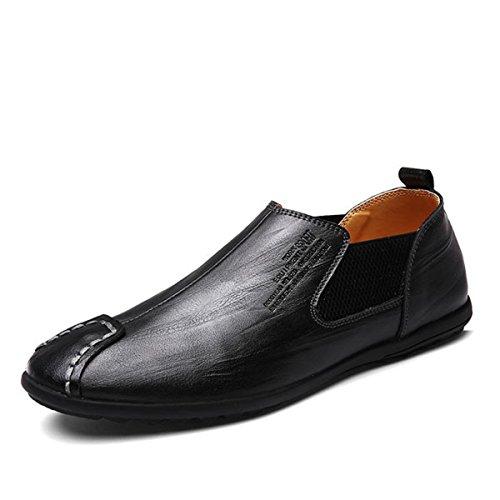 Moccasin pour homme, Gracosy Cuir Casual Chaussure Bateau A Enfiler Design Casual Loafers Chaussures de Ville Urban fait à la main- NOIR MARRON