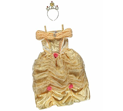 New George Disney Princess Belle Beauty & The Beast Kinder Mädchen Fancy Kleid Kostüm Outfit [5–6] (Beauty Kostüme)