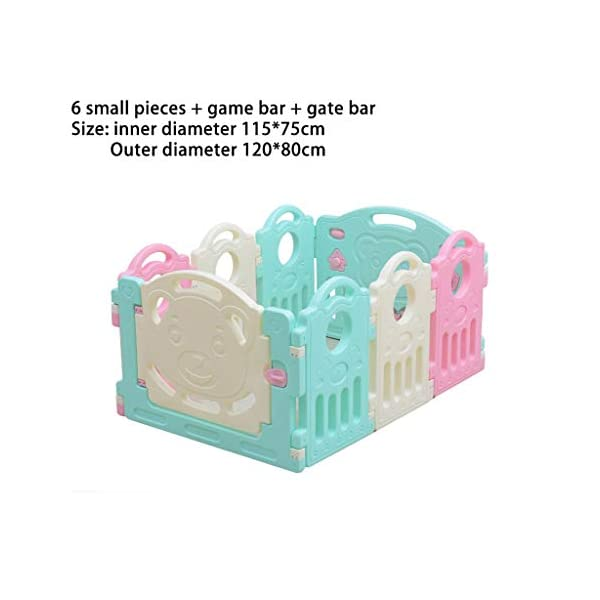 Baby Playpen HUYP Children's Foldable Panel Pet Fence Baby Fence Play Toddler Crawling Mat Fence (Size : 6 small pieces) Baby Playpen  2