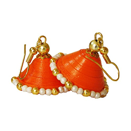 Orange quilled paper jhumka with gold beads for women and kids  available at amazon for Rs.250