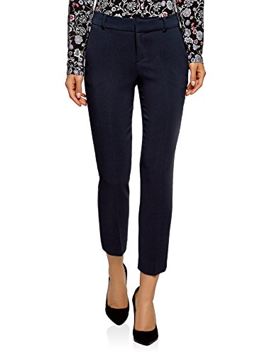 oodji Collection Damen Hose Slim Fit mit Regulärem Bund, Blau, DE 40 / EU 42 / L