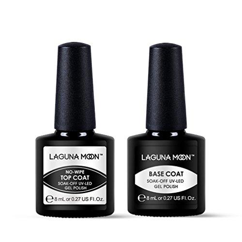 Lagunamoon Base Top Coat Lot Vernis Semi permanent Nail Gel kit de Manucure Vernis à Ongles UV LED Soak off 8ml