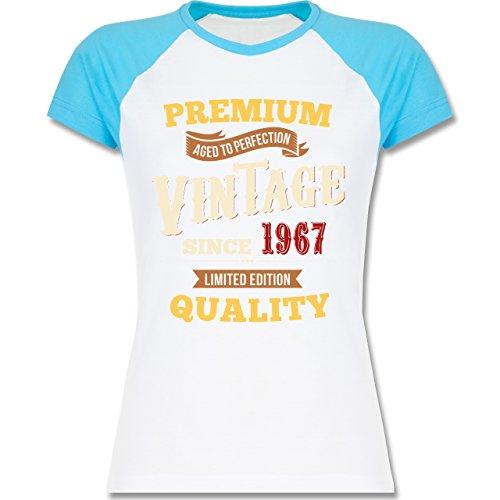 Geburtstag - 50. Geburtstag Vintage 1967 - zweifarbiges Baseballshirt / Raglan T-Shirt für Damen Weiß/Türkis