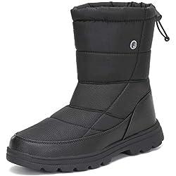Mishansha Botas de Nieve Mujer Zapatos Invierno Forro Calentar Botines Plano Impermeable Antideslizante para Mujeres Al Aire Libre,Negro 41 EU