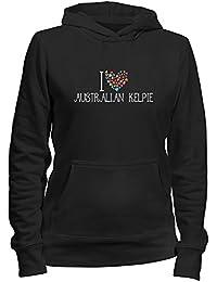 Idakoos I love Australian Kelpie colorful hearts - Hunde - Damen Hoodie
