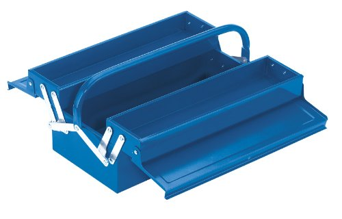 Cantilever Steel Tool Box (2 TRAY CANTILEVER TOOL BOX - General purpose tool box manufactured from sheet steel with tubular handles and lacquered finish. Trays open automatically when handle is depressed and close when lifted. The lid form incorporates provision for a padlock. Carton packed. by Draper)