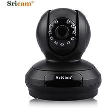 Sricam SP019 - Cámara IP de Vigilancia inalámbrica (1080P, 2.0MP, Wifi 820.11b/g , H.264, P2P, Detección de movimiento, IR LED, Visión nocturna), Color negro