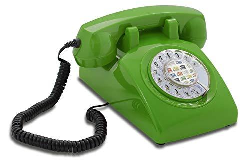 Opis 60s Cable mit Popart Pappeinleger: Retro Telefon im sechziger Jahre Vintage Design mit Wählscheibe und Metallklingel (grün)