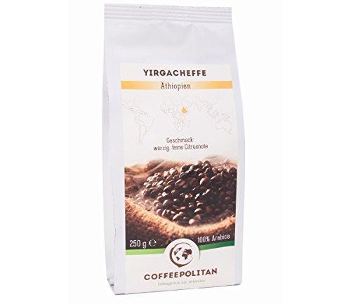 Coffeepolitan Yirgacheffe - Röstkaffee aus Äthiopien - ganze Bohne 250g 1 Packung