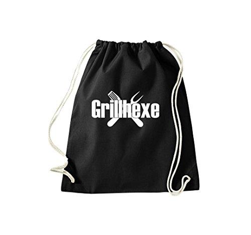 Turnbeutel Grillhexe Grillfest grillen Gymsack Kultsack Schwarz