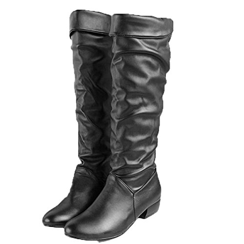Zeagoo Damen Winterstiefel runde Zehe flache Kniehoch Schuhe