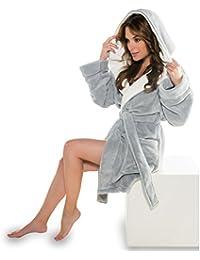 Bademantel mit Kapuze für Damen Mikrofaser, Coral-Fleece, Gewicht ca. 260g/m² Saunamantel CelinaTex 5000358 Miami XS grau cremeweiß