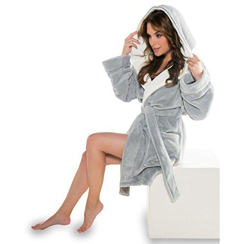 Bademantel mit Kapuze für Damen Mikrofaser, Coral-Fleece, Gewicht ca. 260g/m² Saunamantel CelinaTex 5000359 Miami S grau cremeweiß