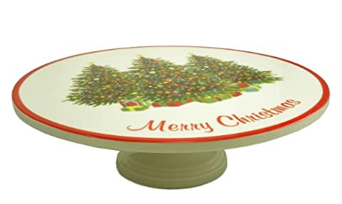Martha Stewart Holiday Garden Christmas Cake Stand, 13.5in