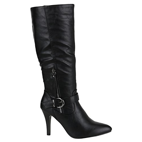 Elegante Damen Stiefel High Heels Boots Stilettos Gefüttert Schuhe 144481 Schwarz Zipper 40 Flandell -