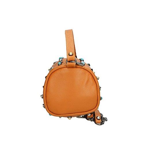 Chicca Borse Borsa a mano in pelle 18x12x12 100% Genuine Leather Cuoio